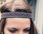 The Geo Boho, Bohemian Headband, Indie, elastic closure, Geometric Print, tribal style