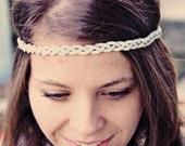 Boho Band- Bohemian Braid Headband, Indie style, single wide braid, elastic closure
