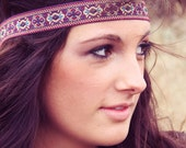 The Indian Princess Bohemian Headband in Plum, beautiful ornate detail, Rich Color, Exotic style