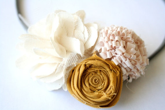 Sweet Pea-Three Flower Headband, Vintage colors, great accessory to dress up an outfit photography prop, any age can wear