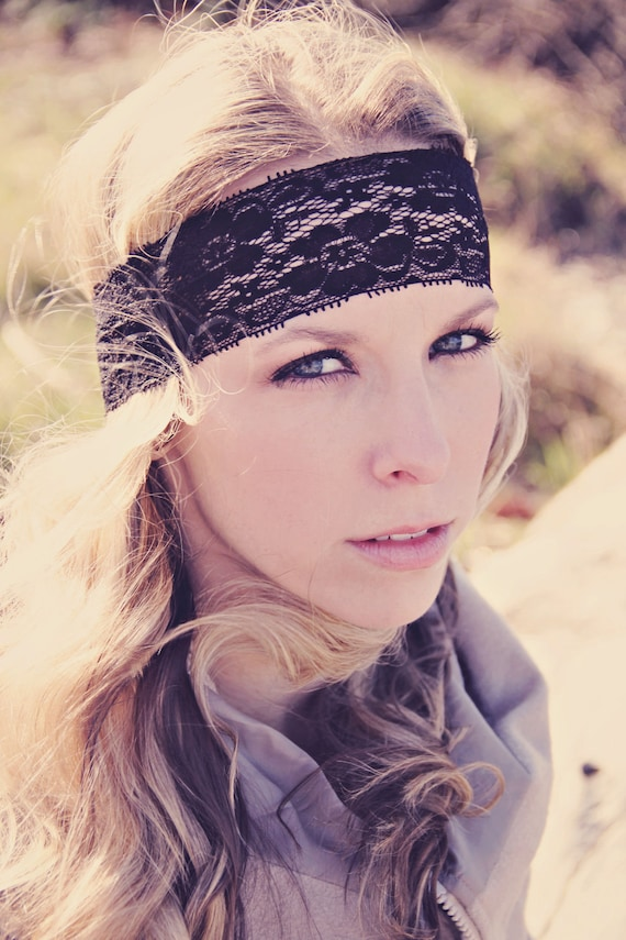 Bohemian Stretch Lace Headband, Boho Style, Beautiful Elegant Lace, Comfy and Romantic, Bridesmaids Gift or Everyday Wear