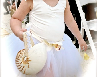 Beach Wedding Nautilus Shell Alternative Flower Girl Basket w/ Custom Ribbon Handle