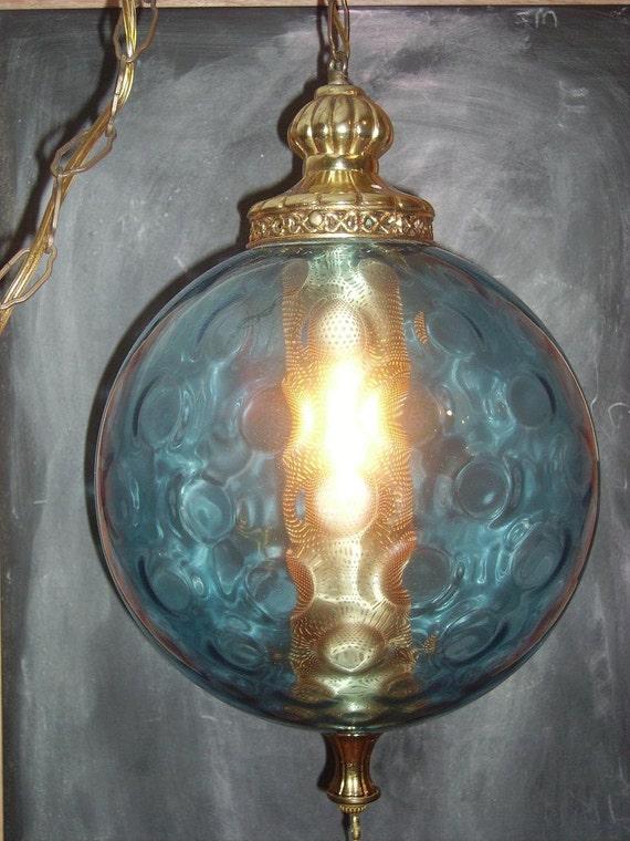 Large Blue Mid Century Mod Swag Globe Lamp