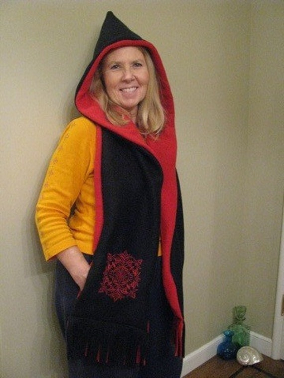 Black/Red Hooded Scarf with Pockets