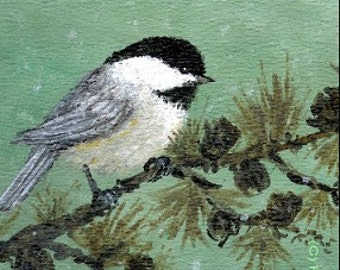 Chickadee on Larch Branch - 5 X 7 inch PRINT - Bird 1 - Brushstroke Enhanced