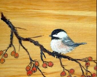 Original Chickadee with Orange Berry Branch - Bird 2 - on Wood