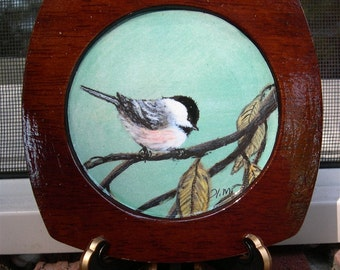Wood Chickadee Print Coaster with Display Easel - Brushstroke Enhanced