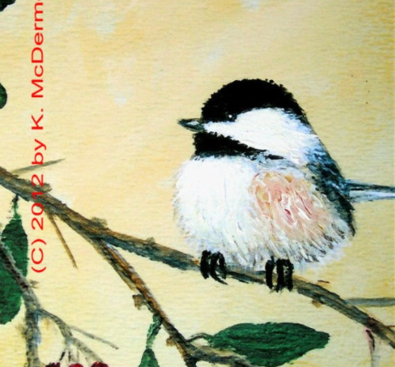 Chickadee Detail Print from Set 4, Bird 2 - 5 X 7 Inch Brushstroke Enhanced