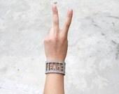 Peace Bracelet in Grey Wool Felt - wool felt jewelry, modern design SALE