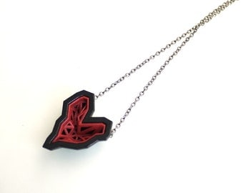 heart geometric pendant - Rock Heart Pendant in Ruby Red and Black. 3d printed. modern jewelry. gift
