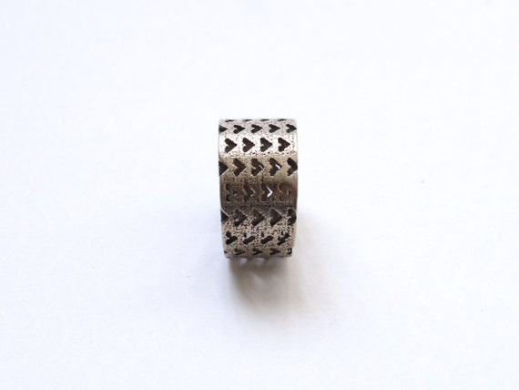 SALE 3D Printed fashion - Rustic Perforated Heart Ring in Stainless Steel. heart fashion, modern industrial jewelry, unique, chunky ring