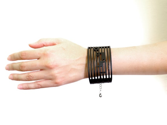 black leather bracelet - Strong Black Leather Cuff with Chain, Adjustable size.  modern jewelry