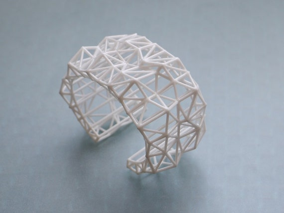 white geometric cuff - Faceted Cuff bracelet in White. 3d printed statement jewelry. summer fashion, modern