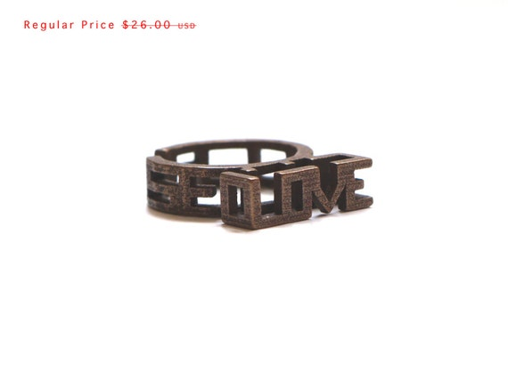 SALE love ring - Because U Love Me Ring in Bronze Size 5.5 - 3d printed modern jewelry