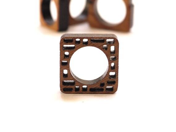 eco friendly wood ring - Bamboo Wood Irregular Block Ring - modern jewelry. geometric spring fashion gifts