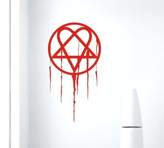 Heartagram wall decal