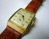 Wrist watch BENRUS Swiss Shock Absorber 1960s mens classic rectangular curved case vintage watch dress wrist watch