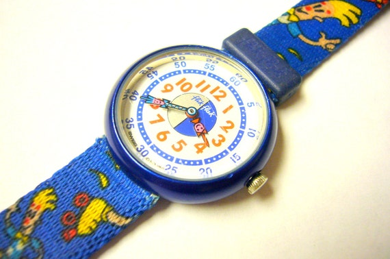 Wrist Watch Wristwatch by Swatch Swiss Blue Flik Flak for Children Swiss SALE