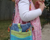 """DeHem """"Polly"""" - Girls Upcycled Denim Purse with Rainbow Handle and Two Front Pockets"""