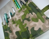 Camo Roll-up Organizer with Snap Closure - Tote Pencils, Pens, Tools, Markers and More (RU2)