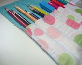 Girls Roll-up Organizer with Ribbon Closure - Upcycled Fabrics - Tote Pencils, Pens, Tools, Markers and More (RU7)