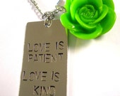 Love is Patient Love is Kind Hand Stamped Pendant with Cabochon on Sterling Silver Necklace
