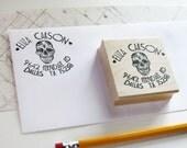 Sugar skull return address stamp