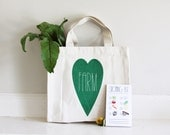 Children's Farmers Market Tote Kit with Shopping List, kelly green