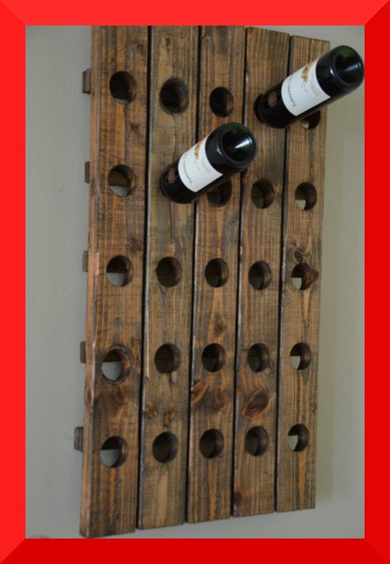 Distressed Wine Rack  Riddling Style Wall Hanging (Walnut)