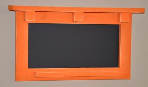 Wood Framed Shelf with Chalkboard and Chalk Ledge Message Board