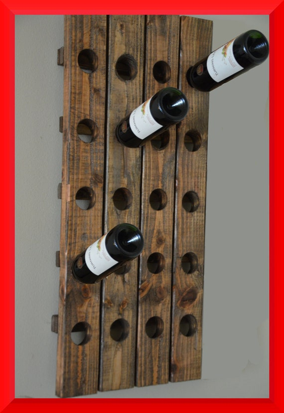 Modern Wine Rack Riddling Style Wall Hanging (Walnut) 20 Bottle
