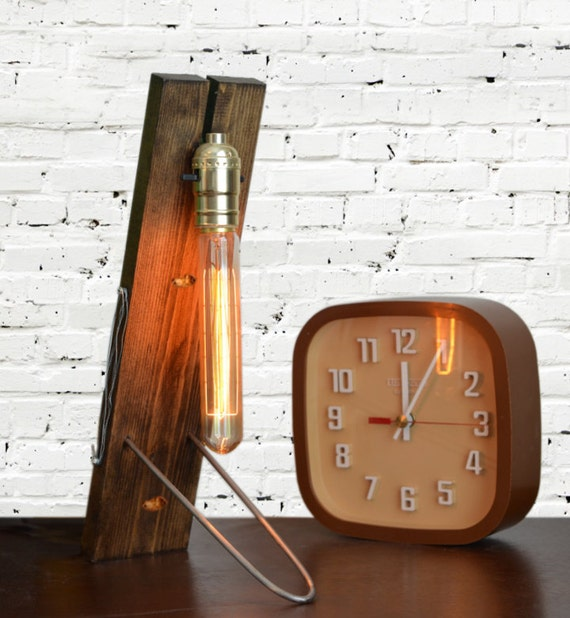 Industrial Table Lamp Light Wood Edison Marconi Filament Bulb
