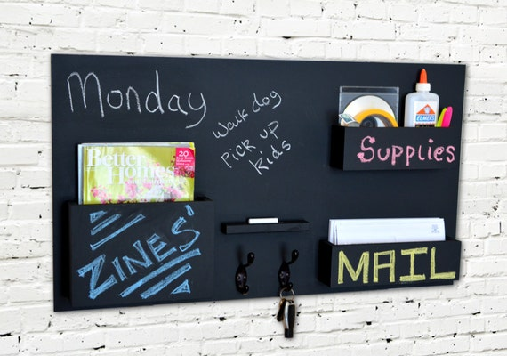 Chalkboard Mail Organizer Wall Mounted With Hooks