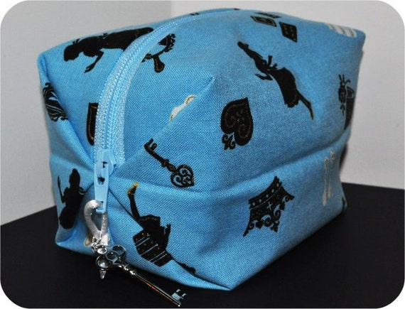 Alice in Wonderland Boxy Pouch. Custom Zipper Pull. Ready to Ship. Sky Blue.