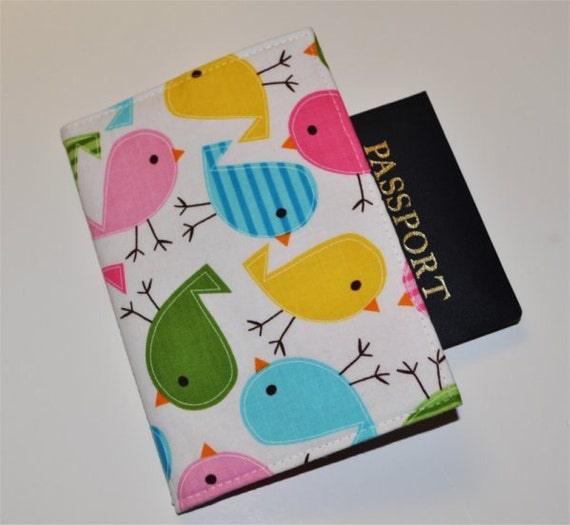 Kawaii Birds Passport Cover. Fabric Passport Sleeve. Choose Your Lining Color.