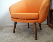RESERVED Lounge Chair with Atomic Legs Viko Baumritter Overman-style in Flame Orange
