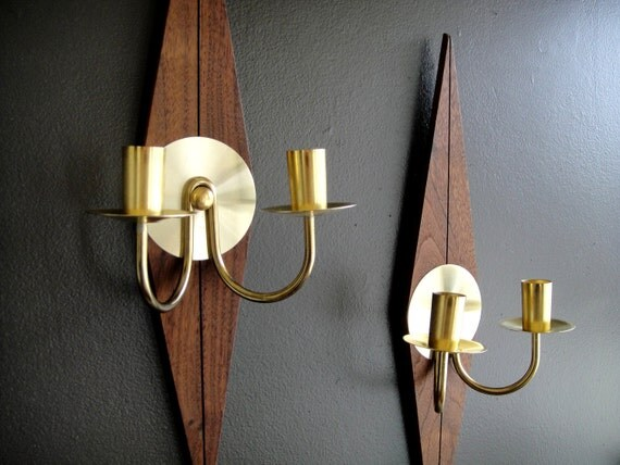 Teak Wall Sconces Mid Century Modern Danish Design by ExpatVintage