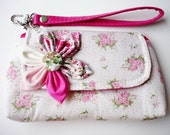 PROMOTION Buy 3 Get 1 FREE  Sweet Pink Flower with Cover Cotton Case for Mobile Phone iphone Coin Key Cosmetic , Mini Clutch etc.