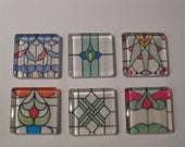Stained Glass Designs Refrigerator Locker Message Board Magnets or Push Pins 001