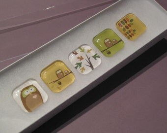 Owls and Tree Branches Glass Refrigerator Magnets or Push Pins (02)
