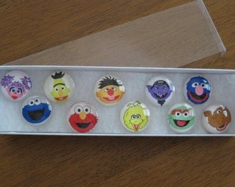 Sesame Street Characters Glass Refrigerator Locker Message Board Magnets or Push Pins