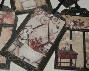 Victorian Ladies Dressing Room or Parlour Gift Hang Tag Set - Scrapbook Embellishment