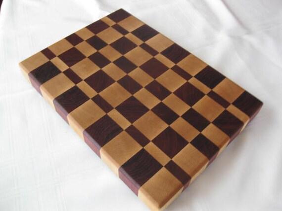 End Grain Wood Cutting Board Hard Rock Maple and Purple Heart (02)
