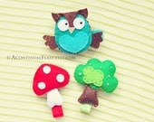 Set of 3,Woodland Hair Clips,Felt