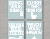 Four Custom Bathroom Prints -- 8x10 -- DIGITAL FILE