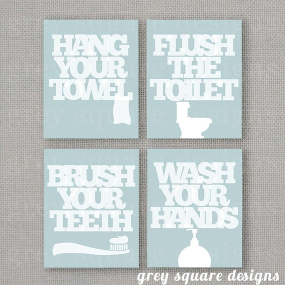Four Custom Bathroom Prints -- 8x10 -- DIGITAL FILE