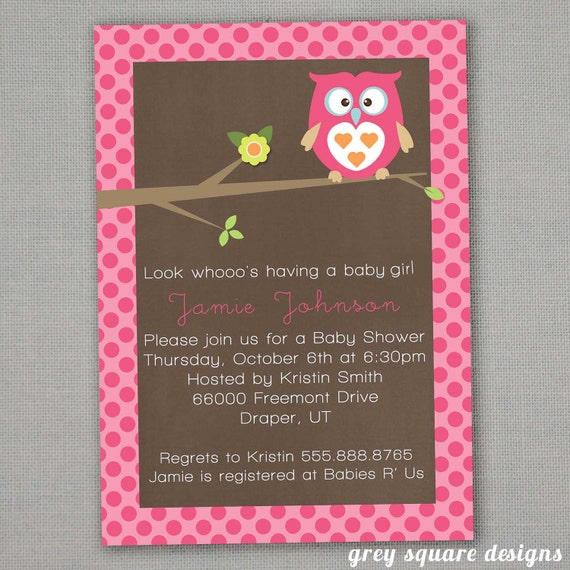 Look Whoo Owl Baby Shower Invitation
