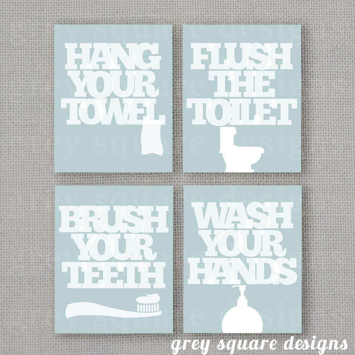 Four Custom Bathroom Prints 8x10 DIGITAL FILE By GreySquare
