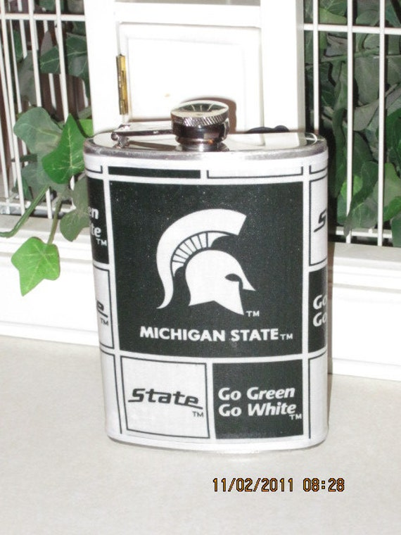 Michigan State Decorated 8 oz. Stainless Steel Hip Flask