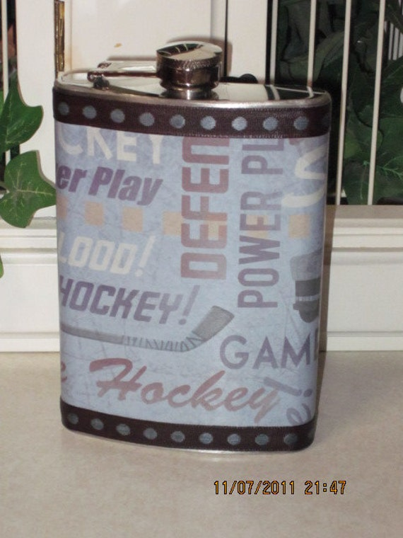 Hockey Decorated 8 oz. Stainless Steel Hip Flask